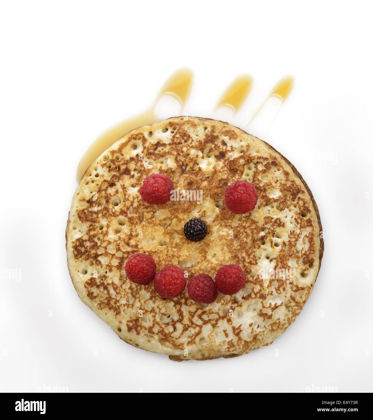 Pancake With Maple Syrup And Berries - Stock Image