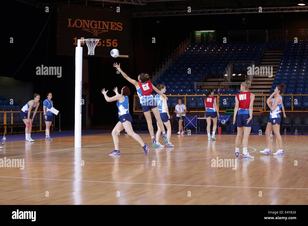 Team Scotland training in the Scottish Exhibition and Conference Centre (SECC)  venue for the Glasgow 2014 Netball - Stock Image