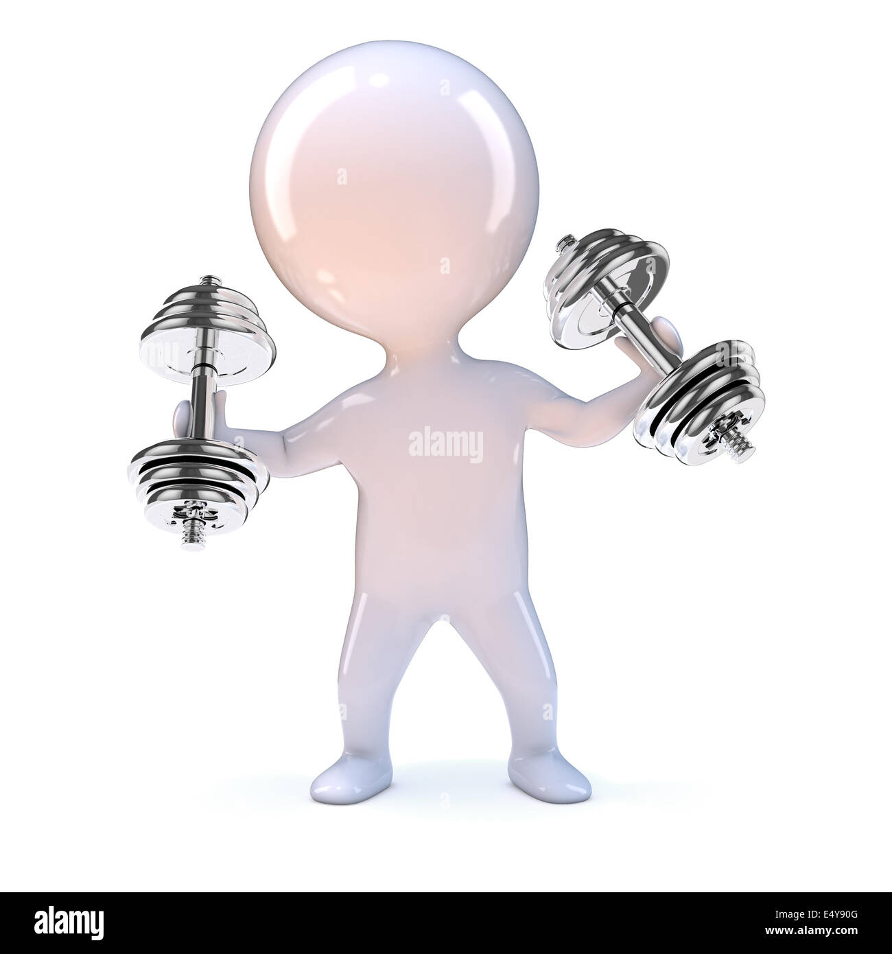 2be315d30cf 3d render of a little man exercising with weights - Stock Image