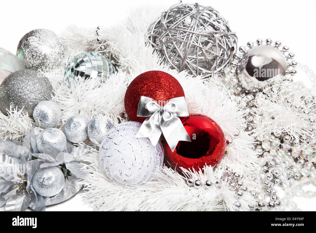 christmas red and silver decorations stock image