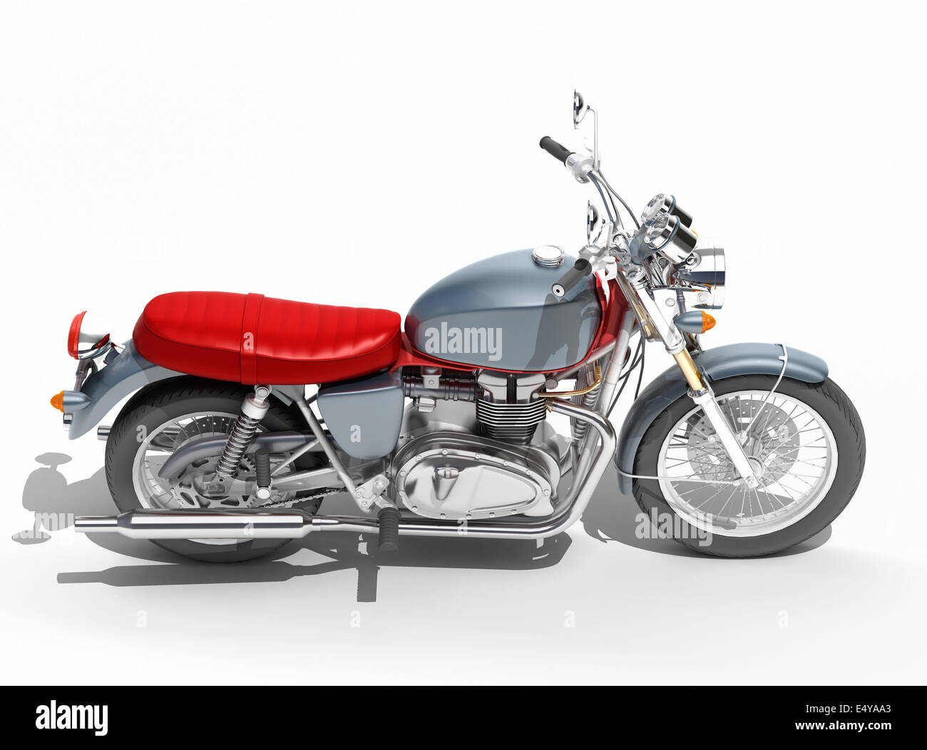 Classic motorcycle isolated - Stock Image