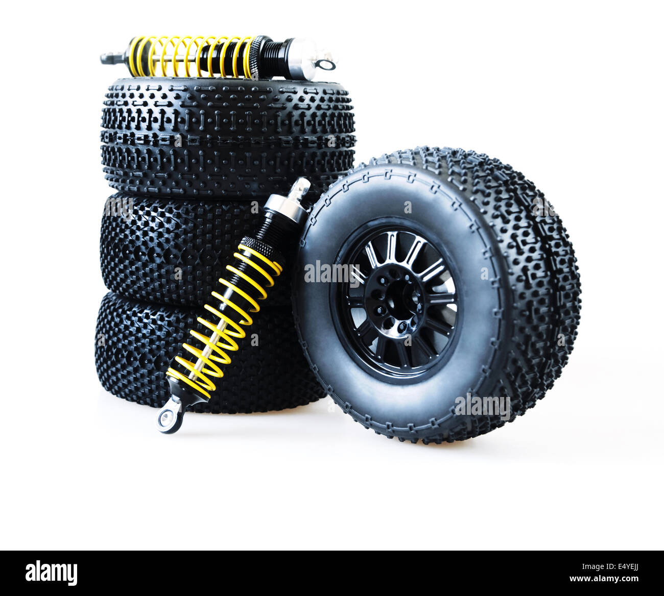 wheels and shock absorbers Stock Photo