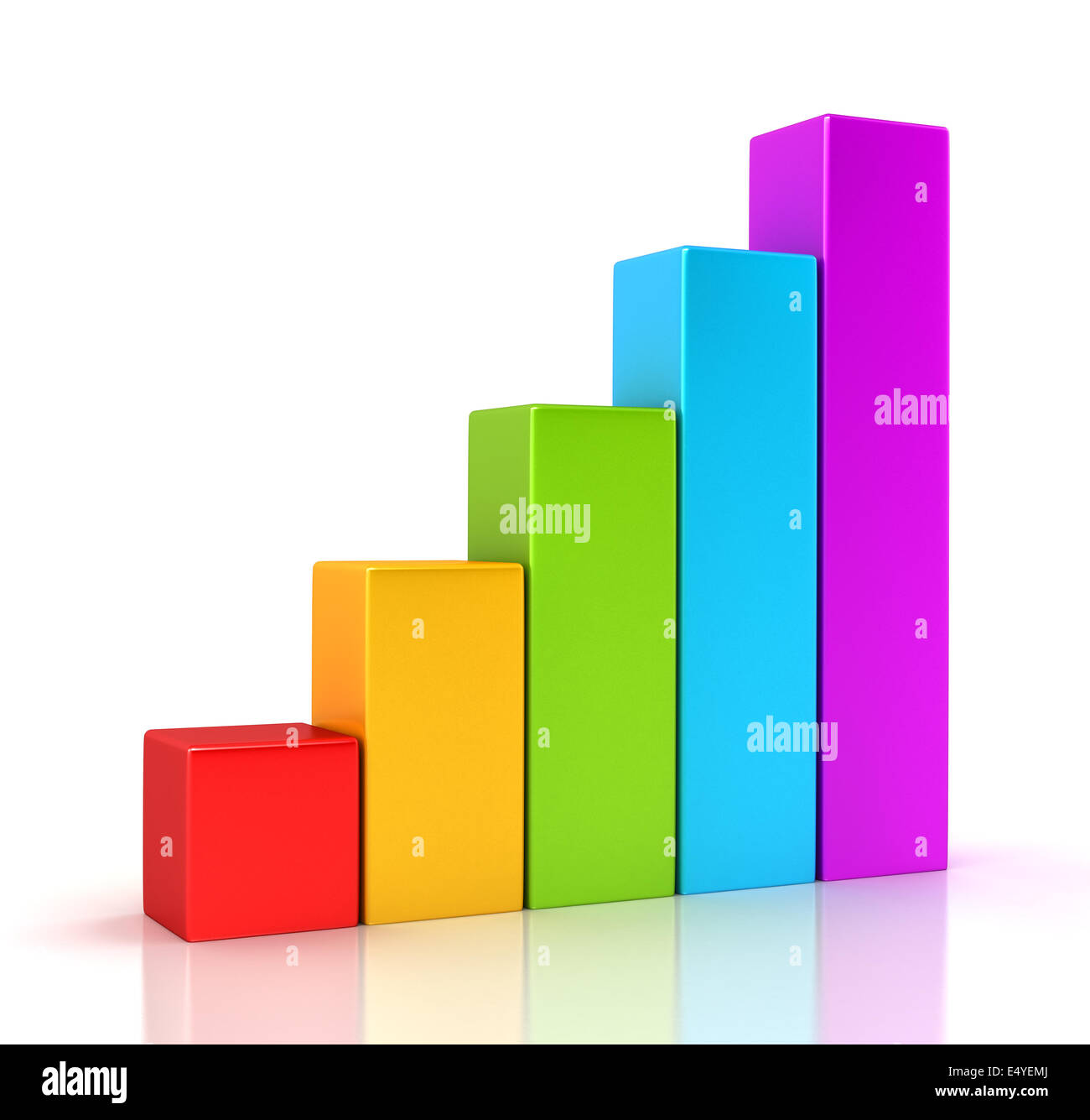 Business Graph Growth Progress Over White Stock Photo
