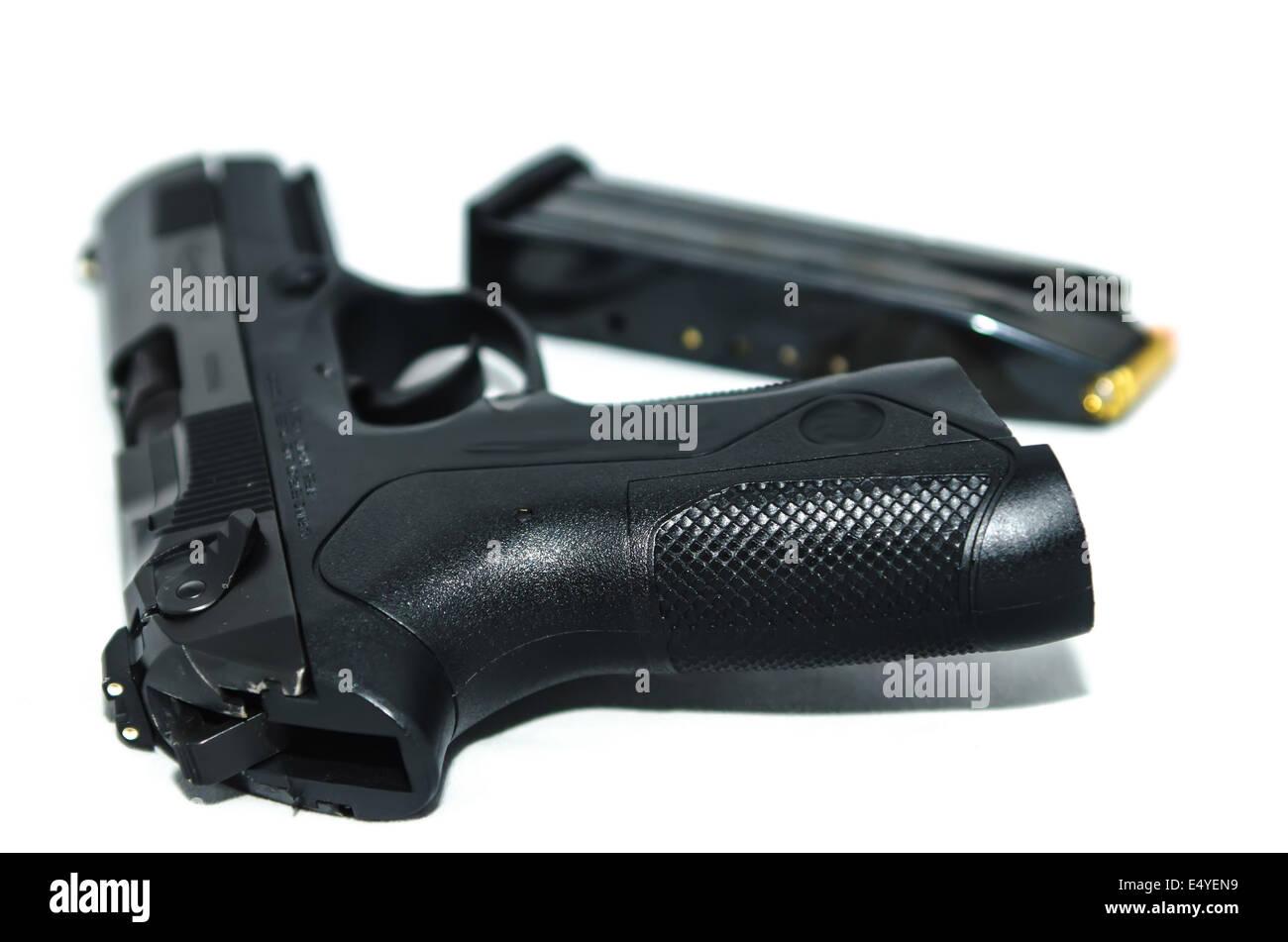 9mm gun and ammo - Stock Image