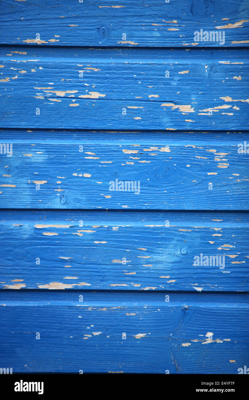 Texture of blue painted wooden planks - Stock Image