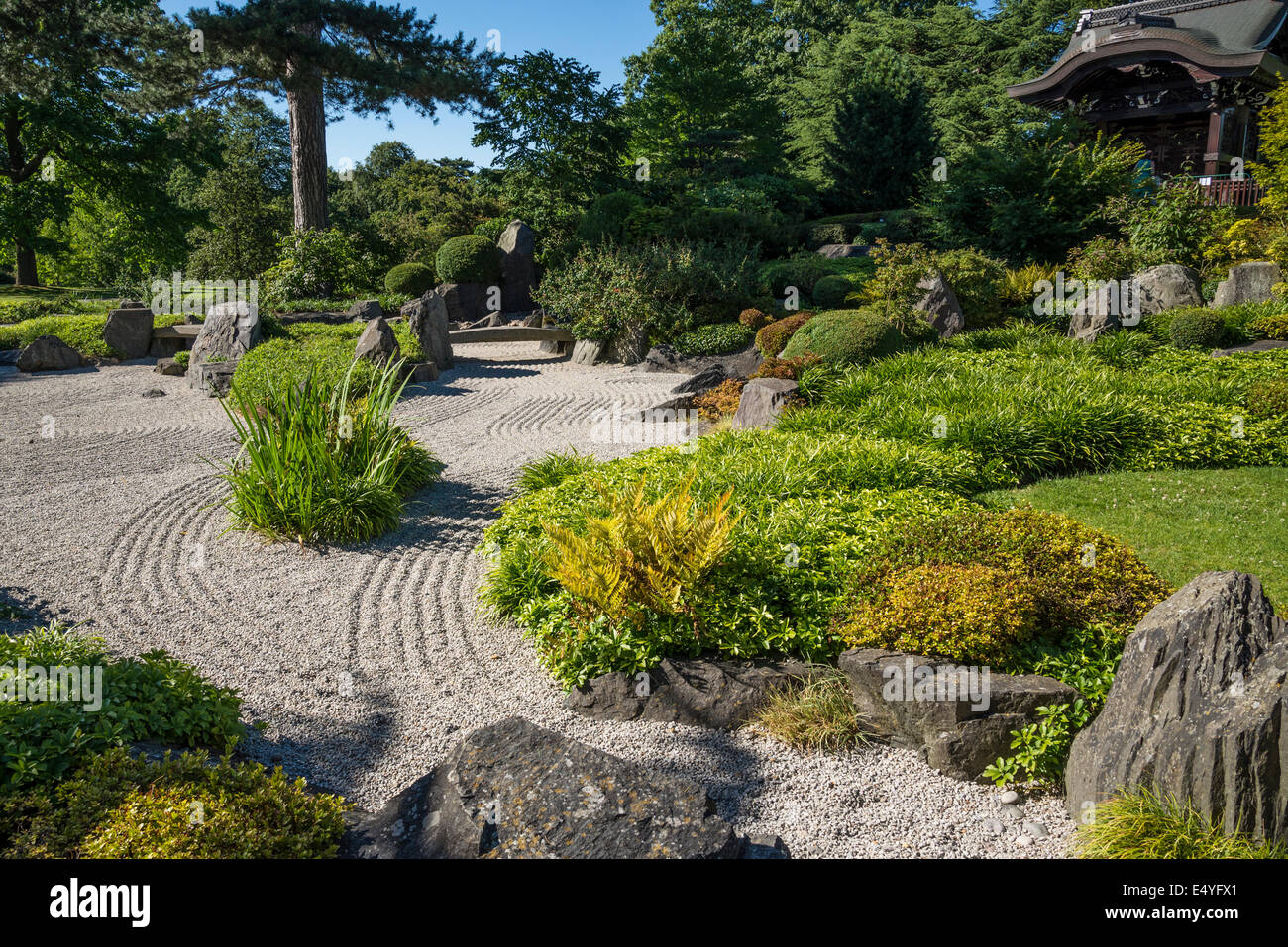 Japanese garden with raked gravel, Kew Royal Botanic Gardens, London, UK - Stock Image