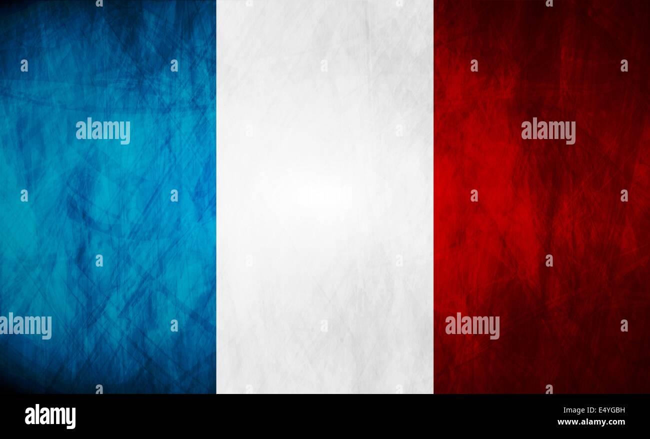 Grunge illustration of French flag - Stock Image