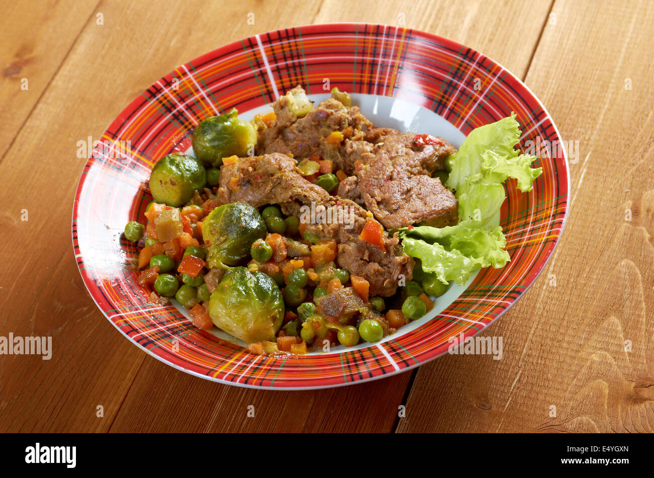 vegetables with spices and mincemeat - Stock Image