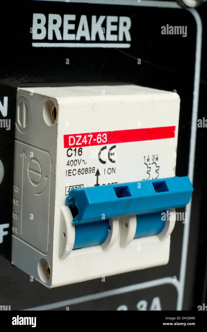 Electric circuit breaker switch. Safety, cut off device. - Stock Image