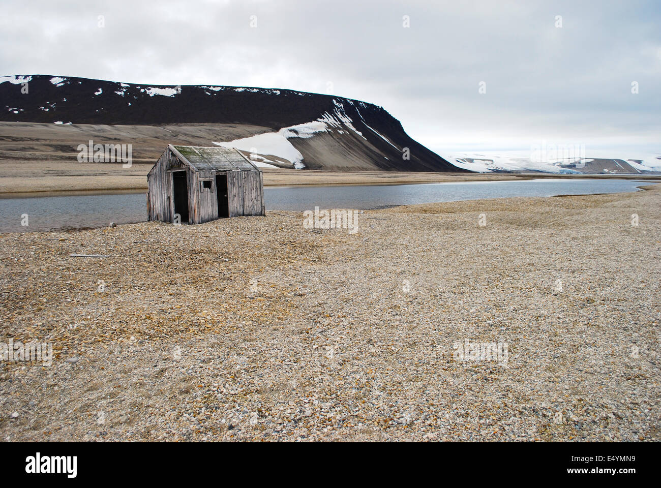 Lonely Hut, Spitsbergen, Norway - Stock Image
