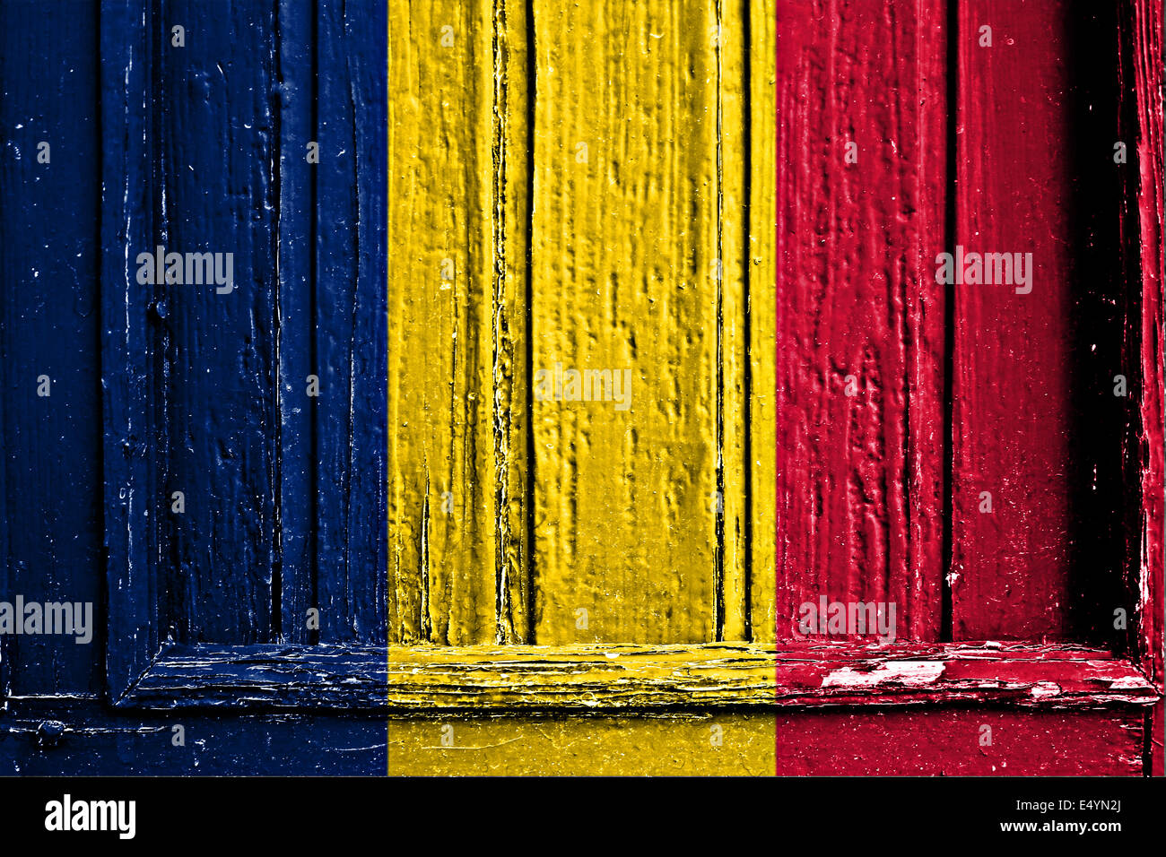 flag of Tchad  painted on wooden frame - Stock Image