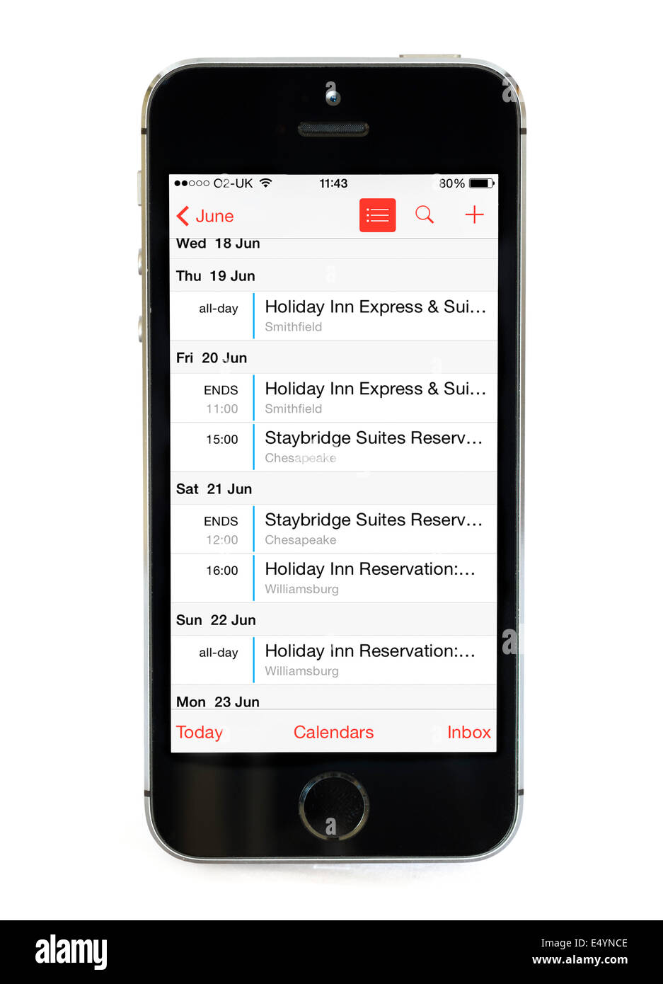 The Calendar app on an Apple iPhone 5S - Stock Image