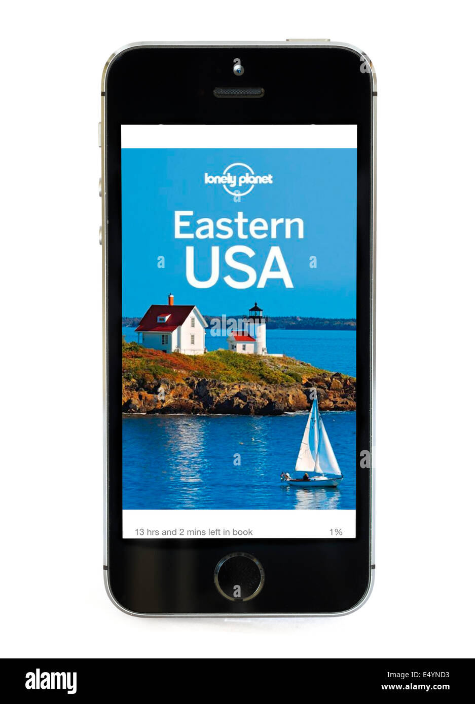 Travel Guide on the Eastern USA by Lonely Planet displayed on Apple iPhone Kindle app. - Stock Image