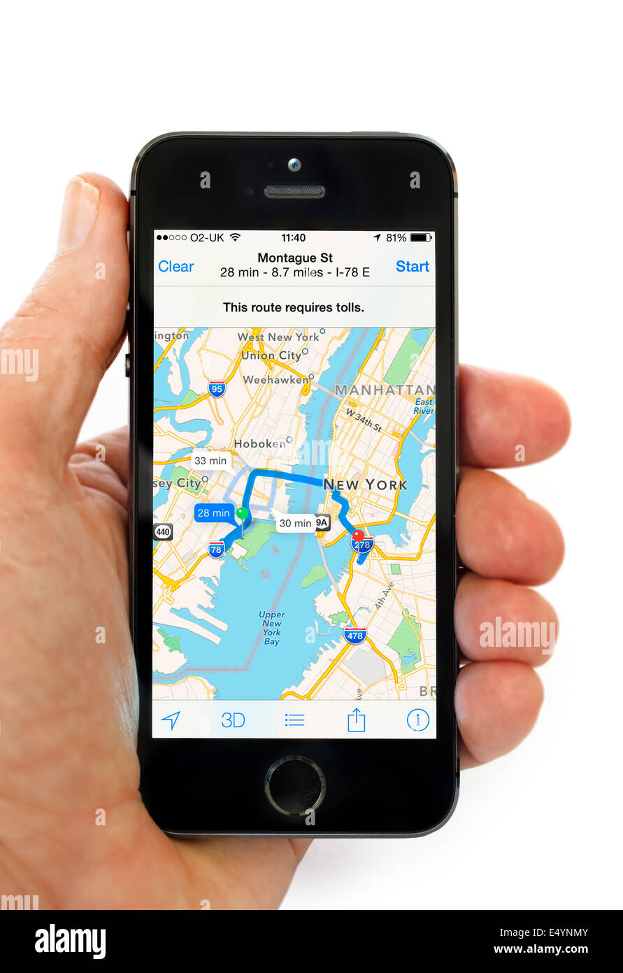 Using the Apple Maps app on iPhone 5S, USA - Stock Image