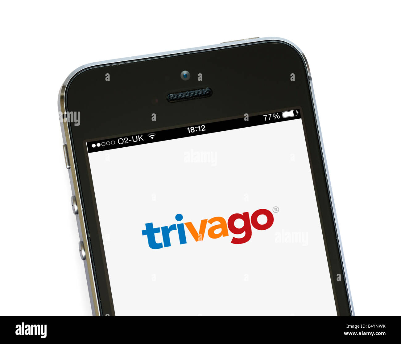 Trivago app, the hotel price comparison tool, on an Apple iPhone 5S, UK - Stock Image
