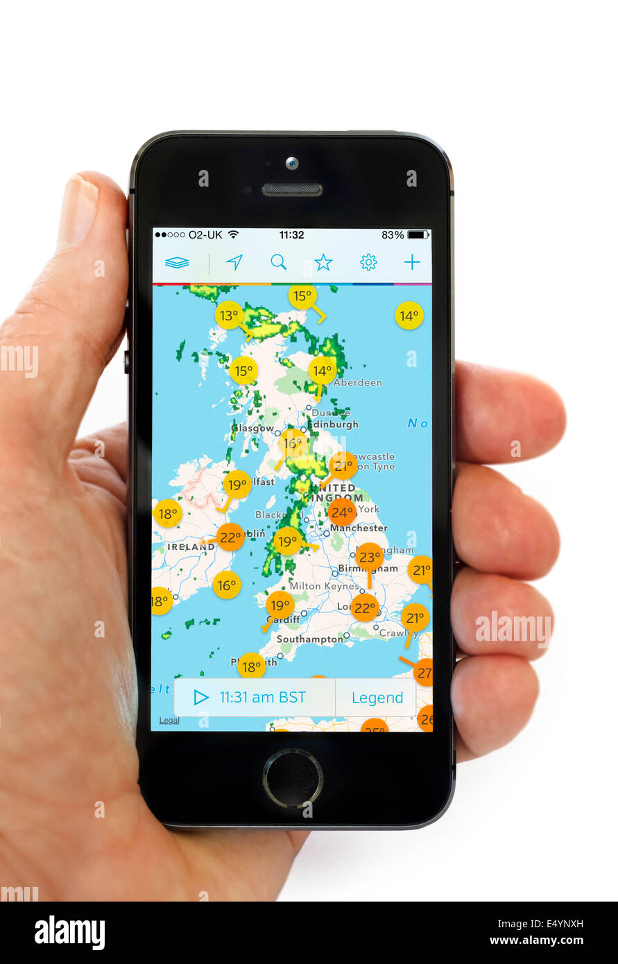 The Weather Underground WunderMap app on an Apple iPhone 5S, UK - Stock Image
