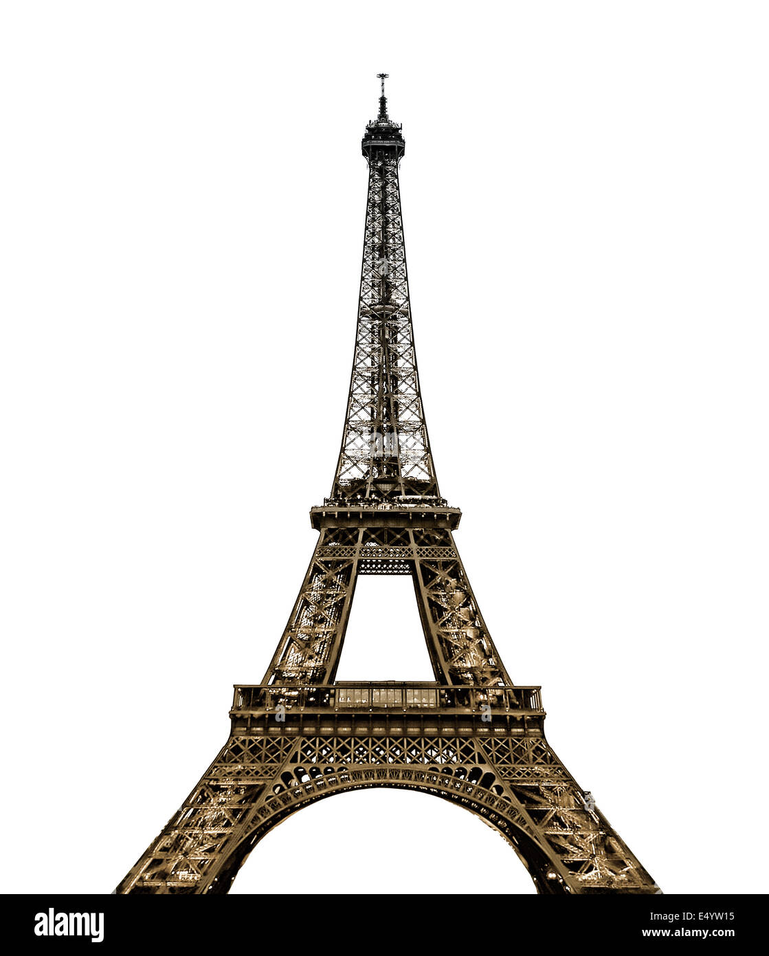 Eiffel Tower in Paris on white background - Stock Image