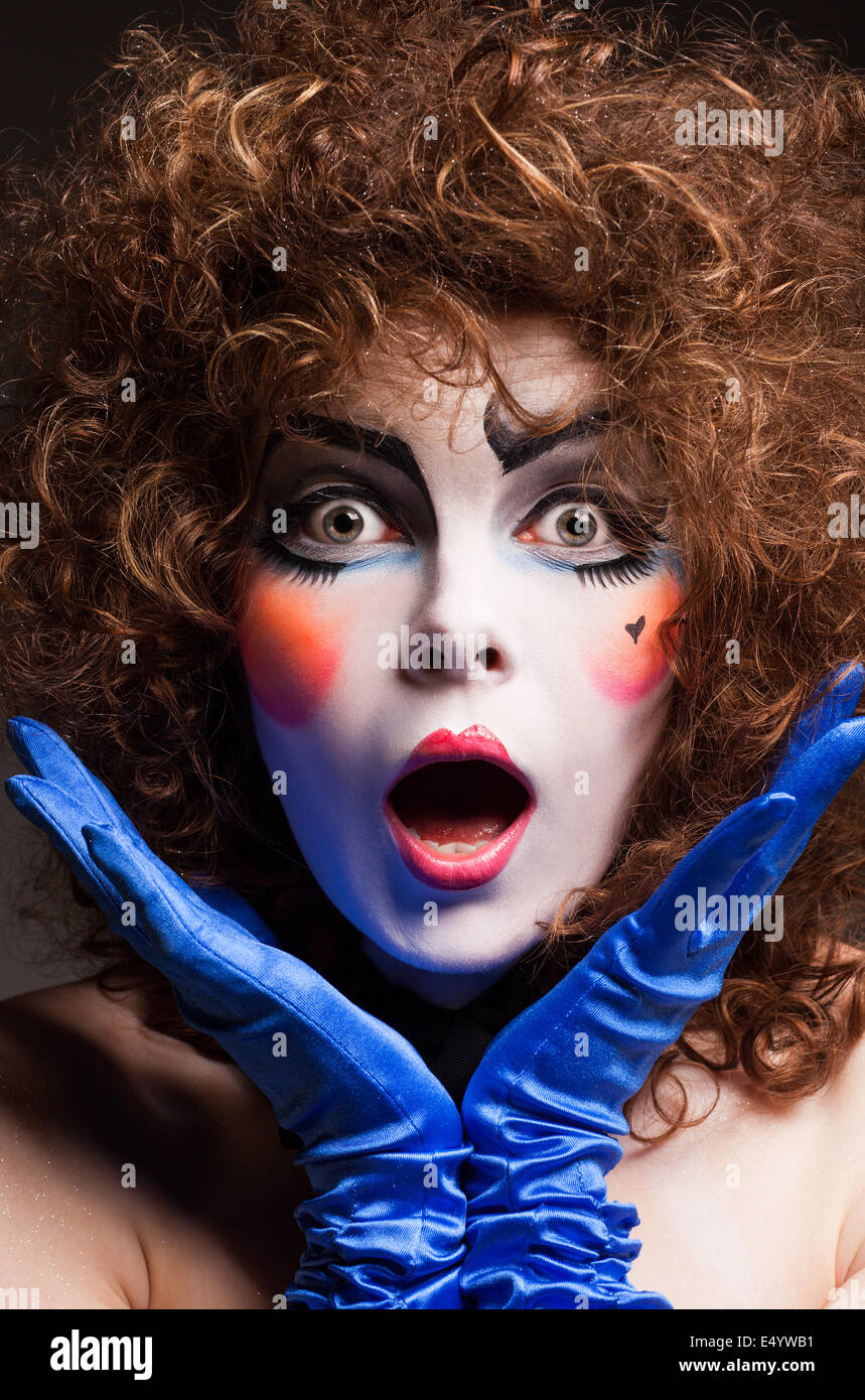 woman mime with theatrical makeup - Stock Image