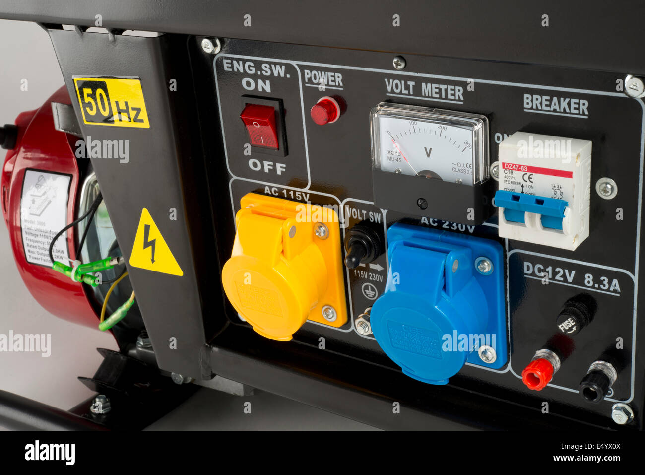 Electricity generator control panel; with sockets, Volt meter Stock ...