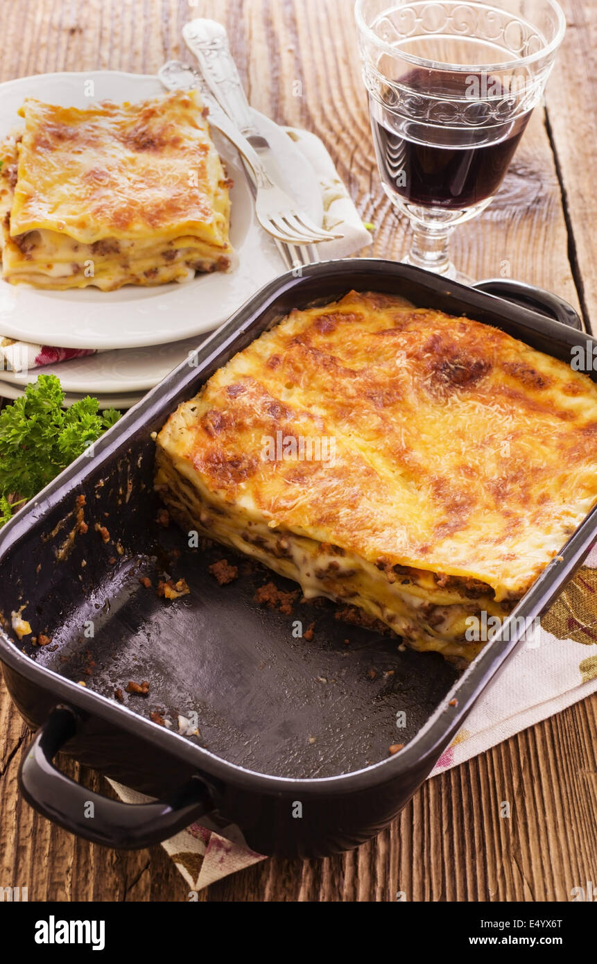 lasagne in baking form - Stock Image
