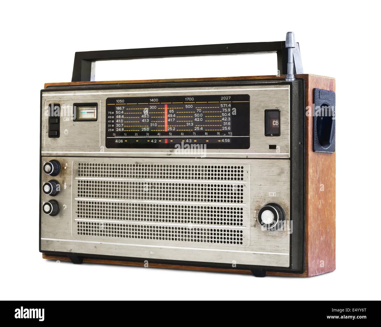 Old transistor radio isolated on white - Stock Image