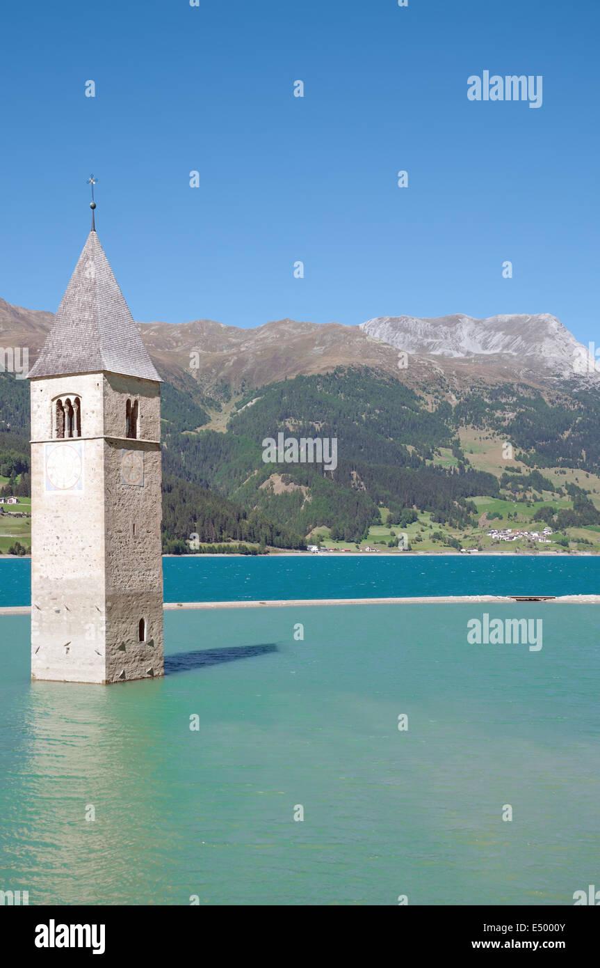 sunken Church at Lake Reschensee,South Tyrol - Stock Image