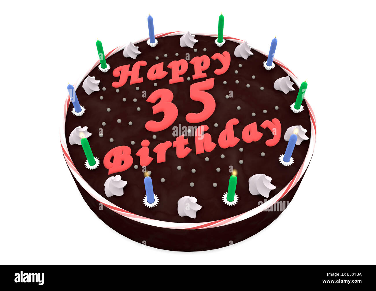 Awesome Chocolate Cake For 35Th Birthday Stock Photo 71915854 Alamy Personalised Birthday Cards Sponlily Jamesorg