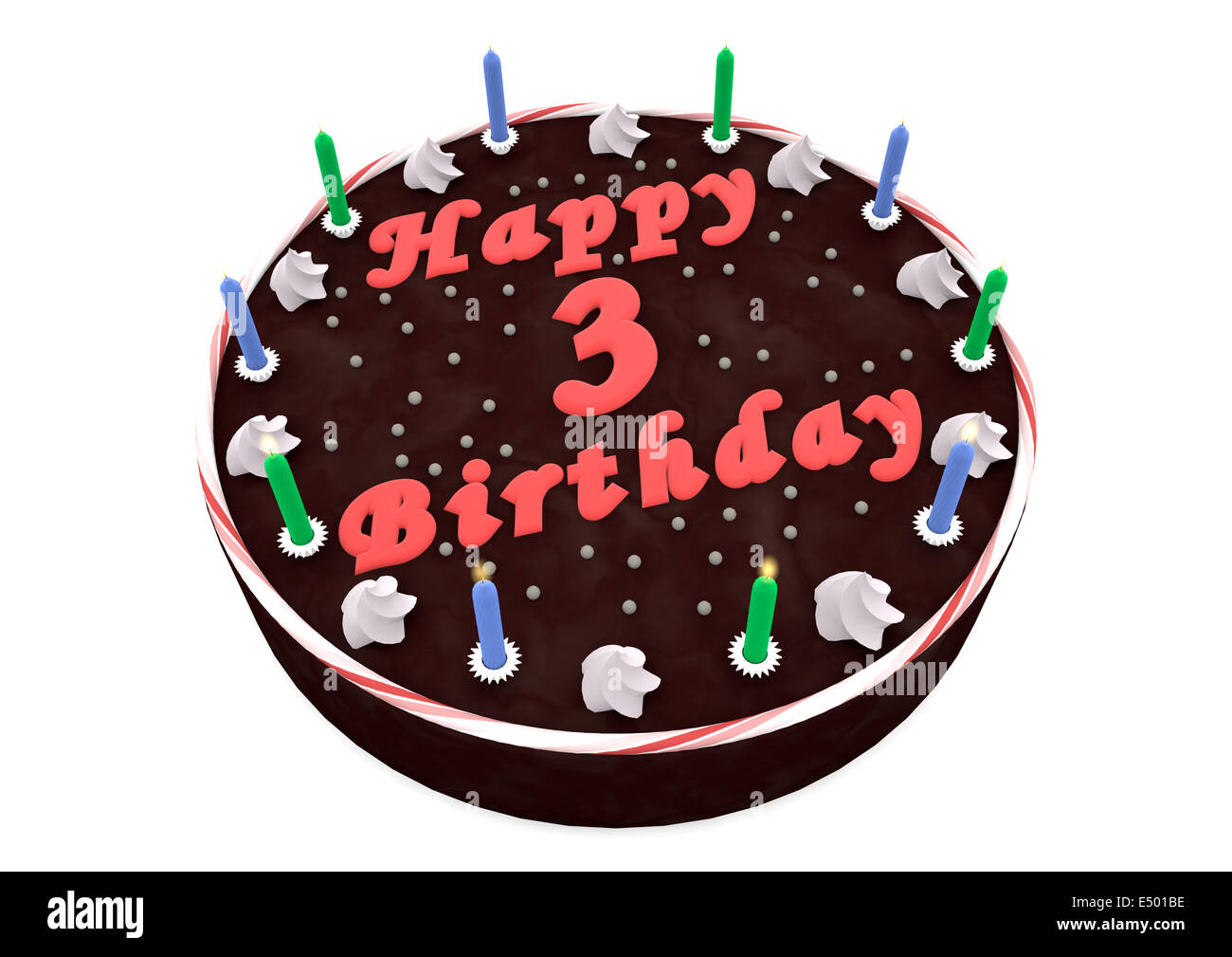 Surprising Chocolate Cake For 3Rd Birthday Stock Photo 71915858 Alamy Funny Birthday Cards Online Overcheapnameinfo