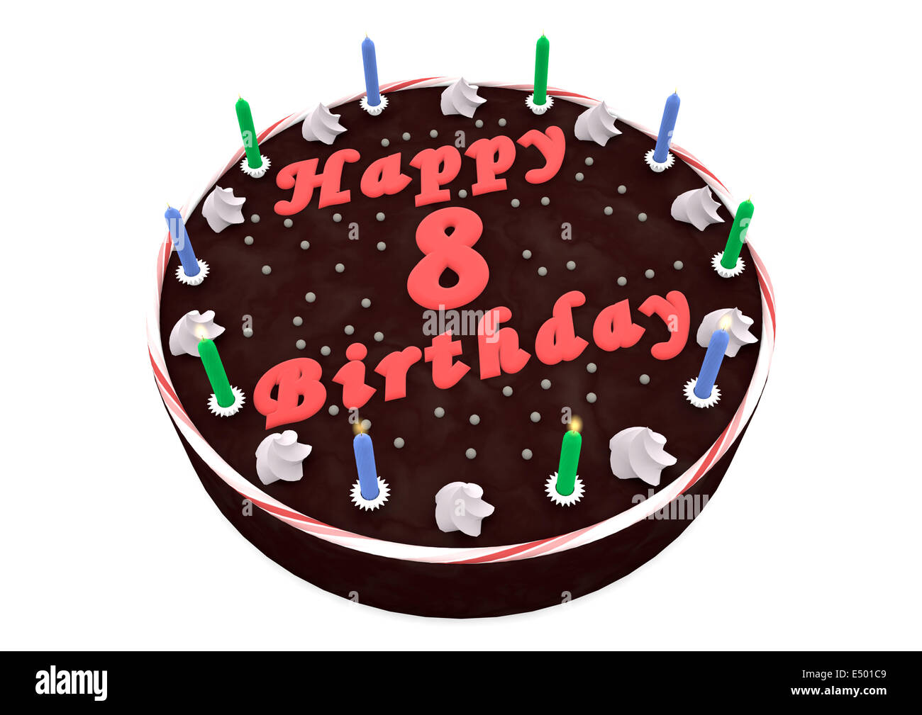 Amazing Chocolate Cake For 8Th Birthday Stock Photo 71915881 Alamy Funny Birthday Cards Online Inifodamsfinfo