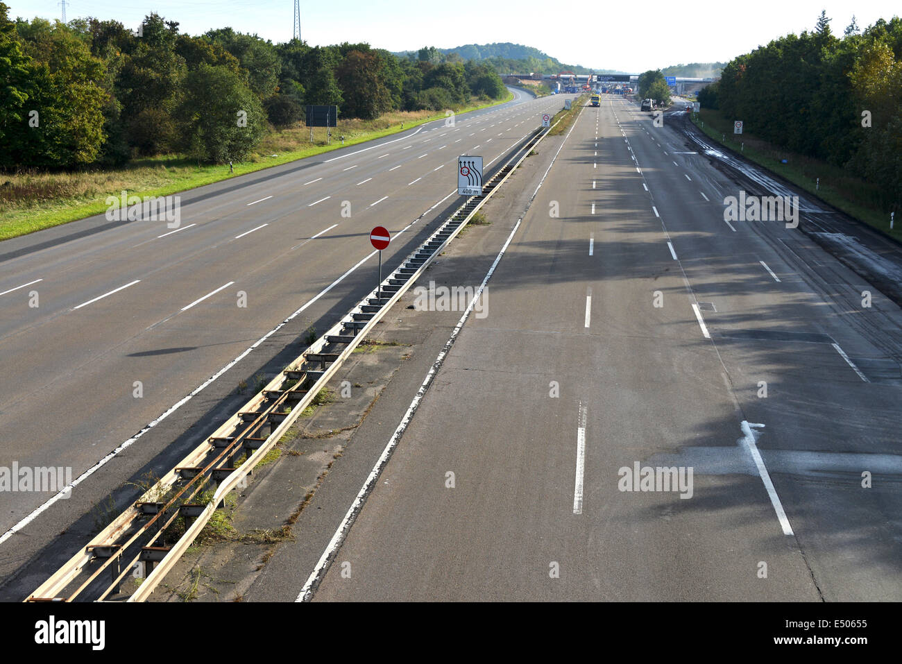 completely closed motorway Stock Photo