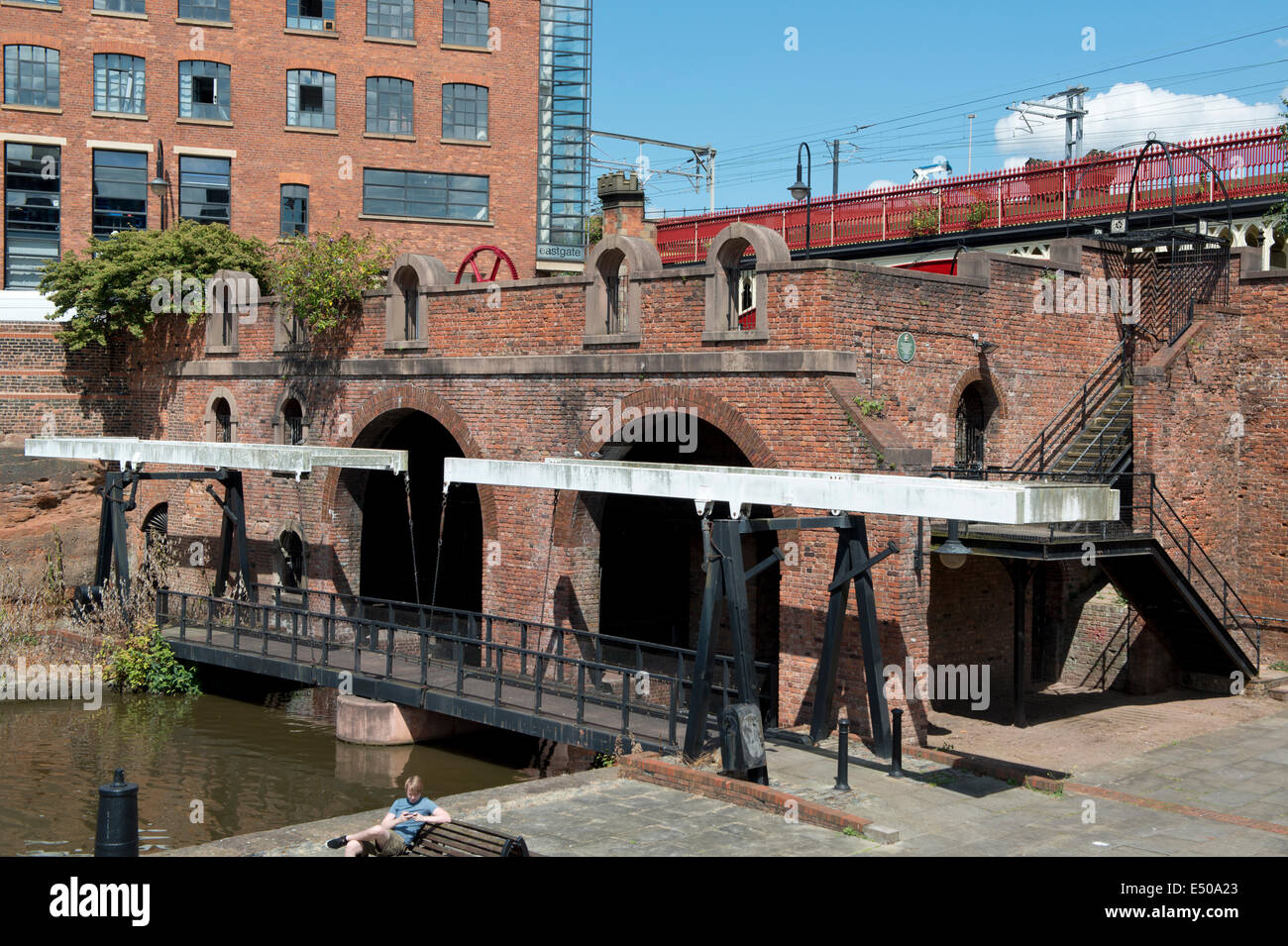 Site of The Grocer's Warehouse in Castlefield Urban Heritage Park and historic inner city canal conservation - Stock Image