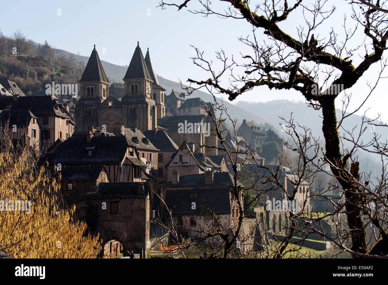 Saint James Way Conques Concas medieval village France - Stock Image