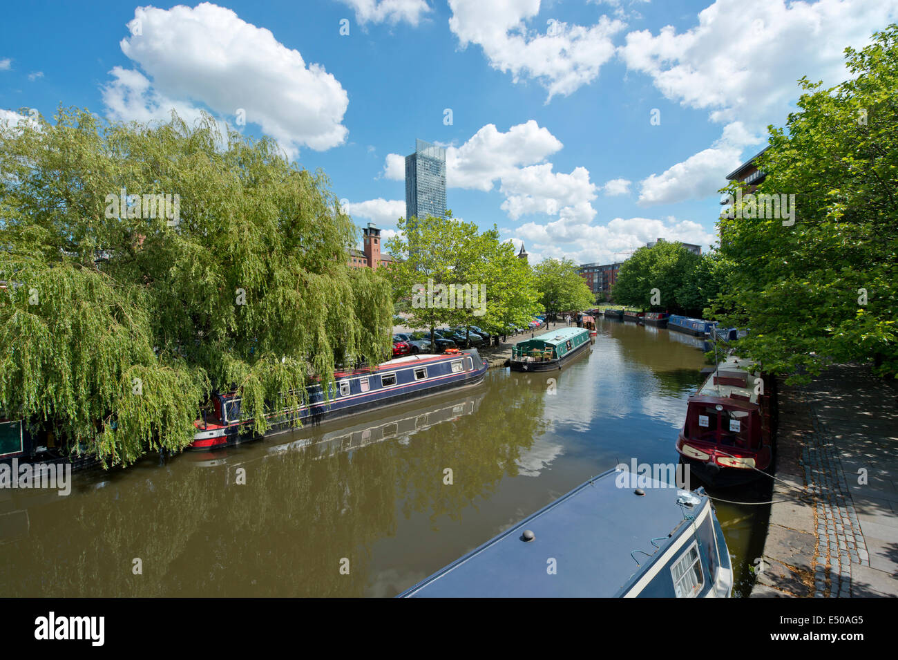 The Castlefield Urban Heritage Park and historic inner city canal conservation area including Beetham Tower in Manchester, - Stock Image