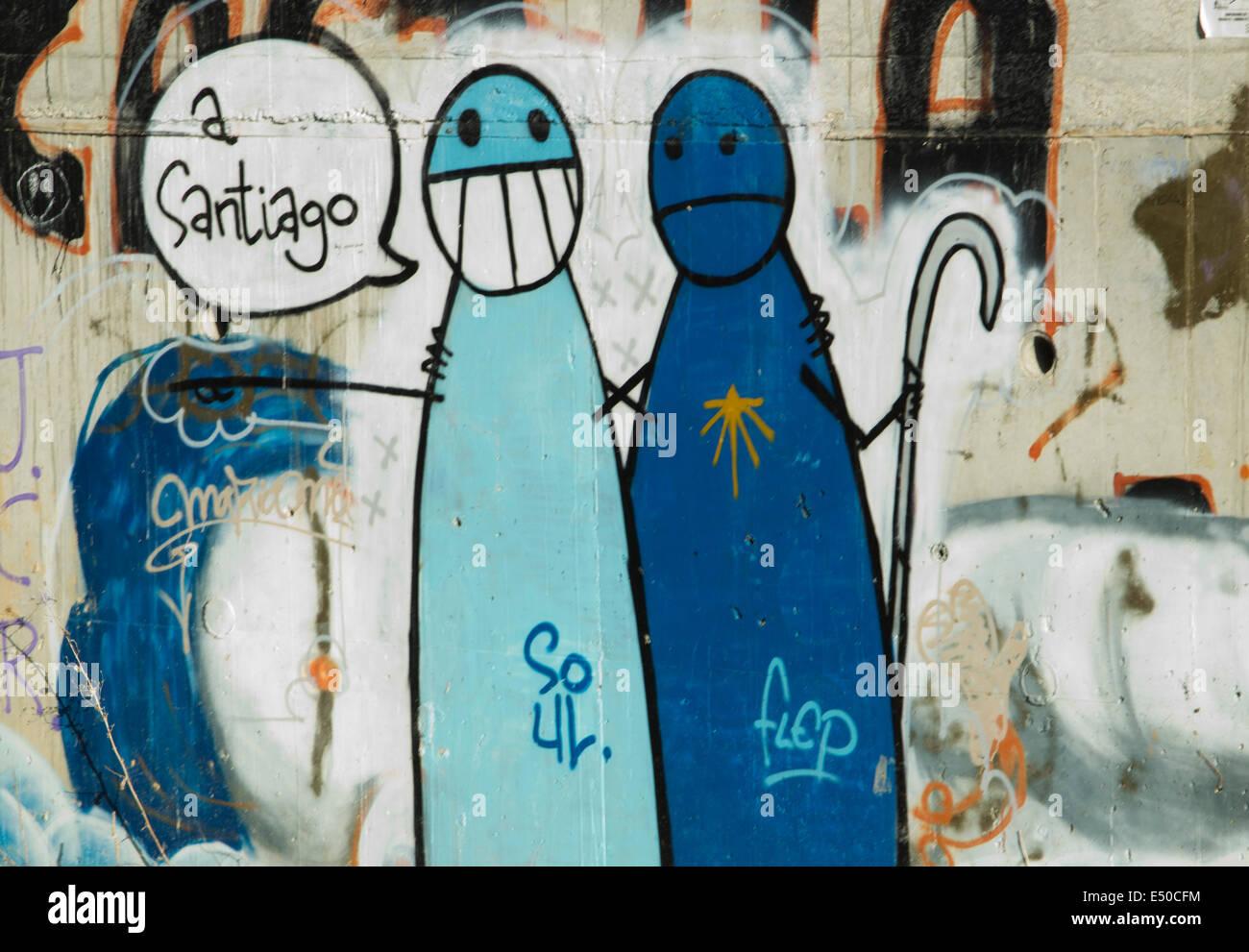 Grafitti on the great walk of Saint James, Jakobsweg, Camino de Santiago, Spain - Stock Image
