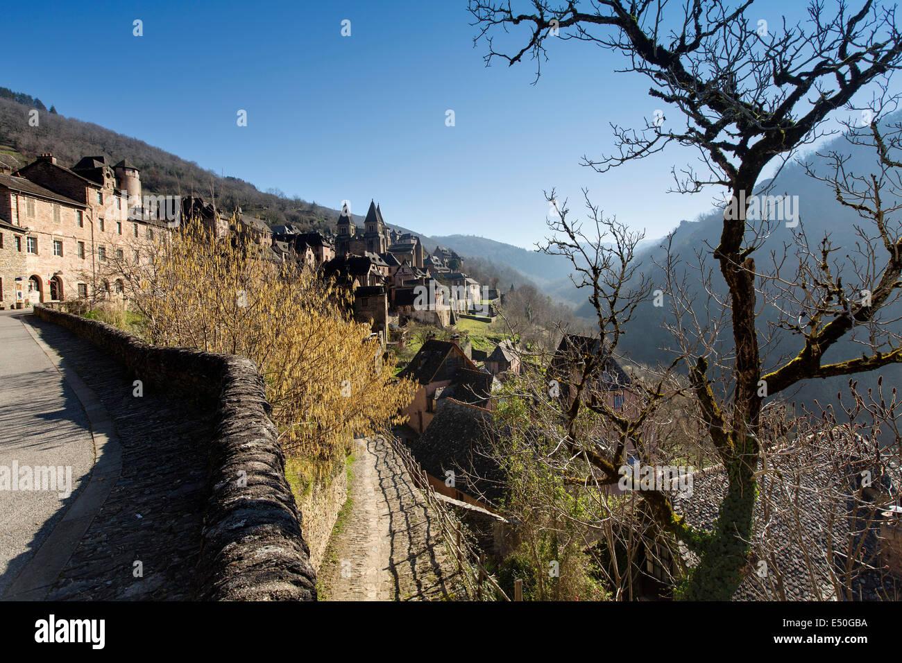 Conques Concas medieval village Saint James Way France - Stock Image