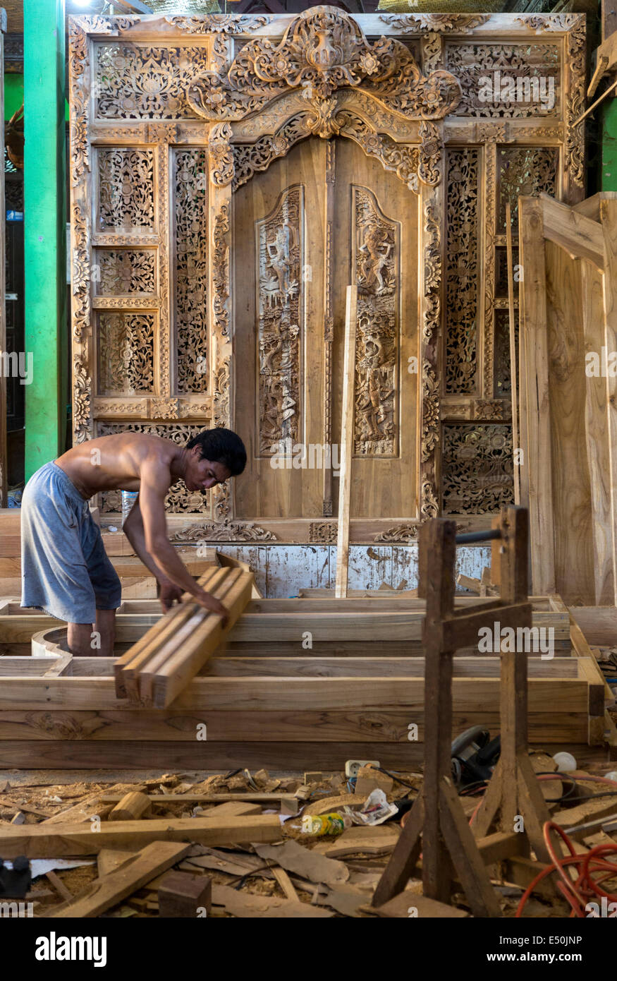 Doors Under Construction in a Woodworkeru0027s Workshop. & Bali Indonesia. Doors Under Construction in a Woodworkeru0027s Stock ...