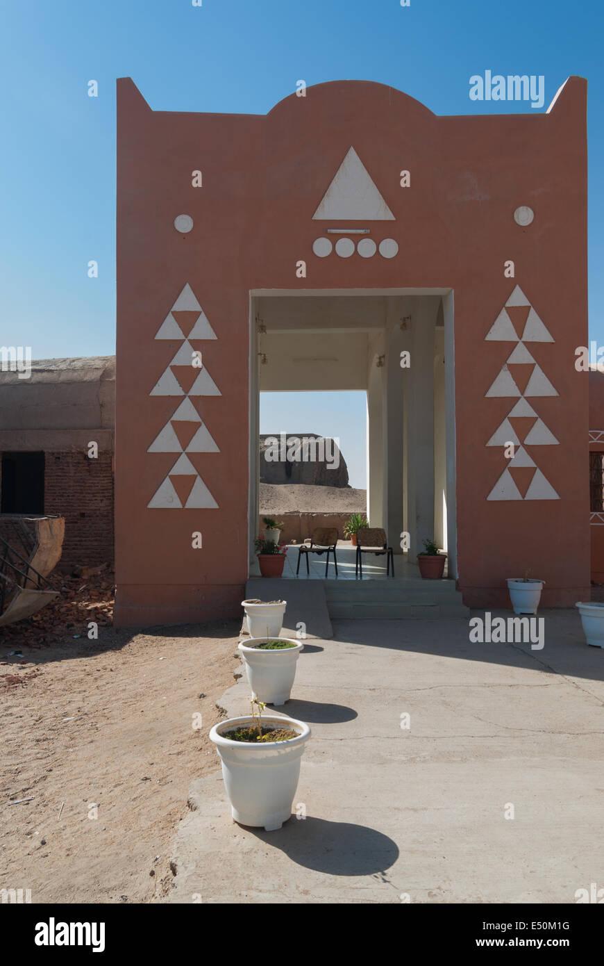 Kerma Civilization Complex Museum and Western Deffufa (visible through 'door'), Kerma, northern Sudan - Stock Image