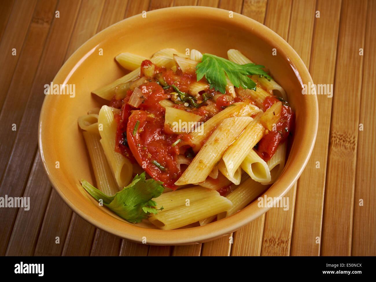 penne rigata with marinara sauce Stock Photo