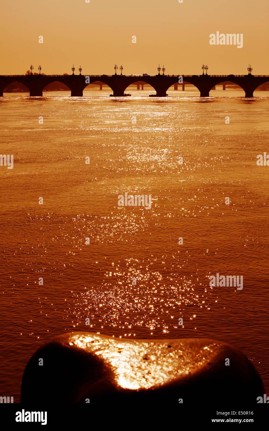 Pont de Pierre Garonne river Bordeaux Aquitaine France - Stock Image