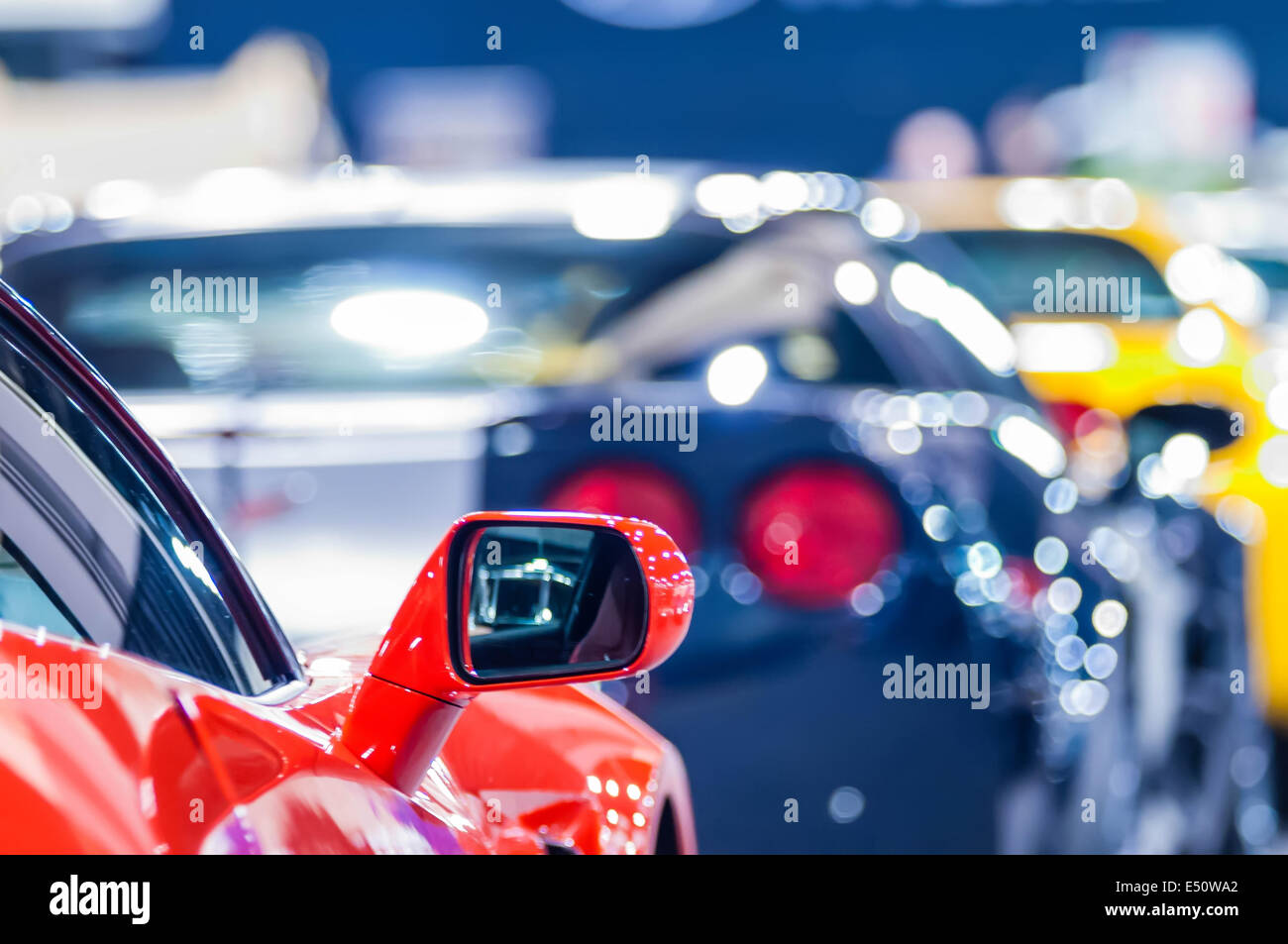 cars on display at an autoshow - Stock Image