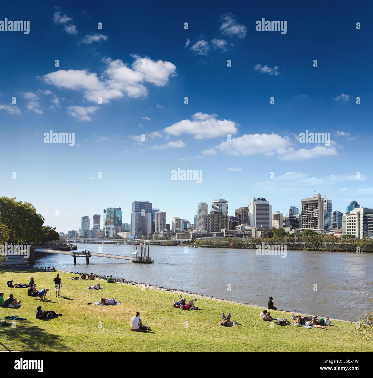 brisbane skyline from the park - Stock Image