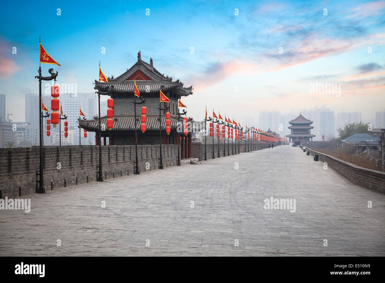 xian ancient city wall at dusk - Stock Image