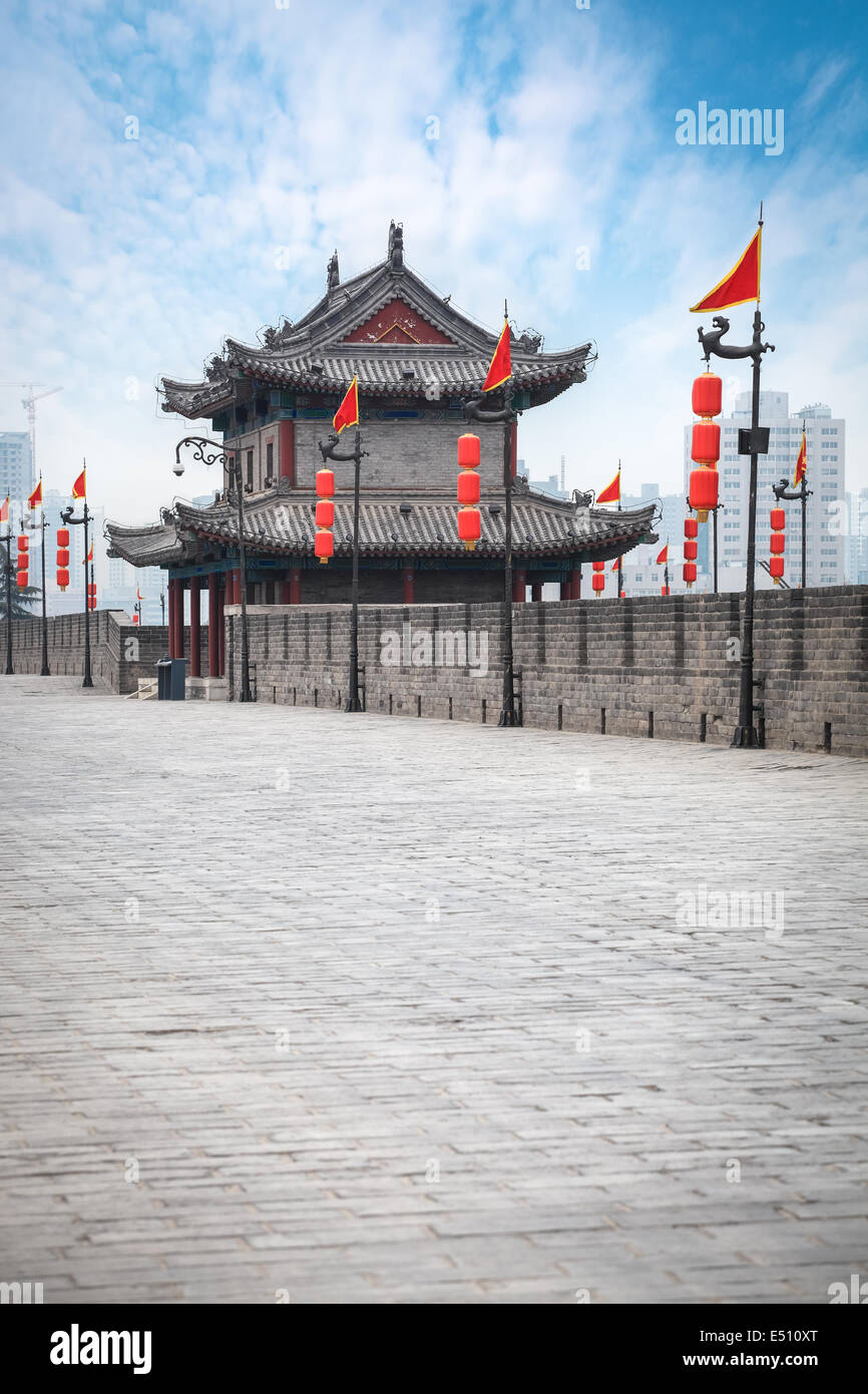 ancient tower on city wall in xian - Stock Image