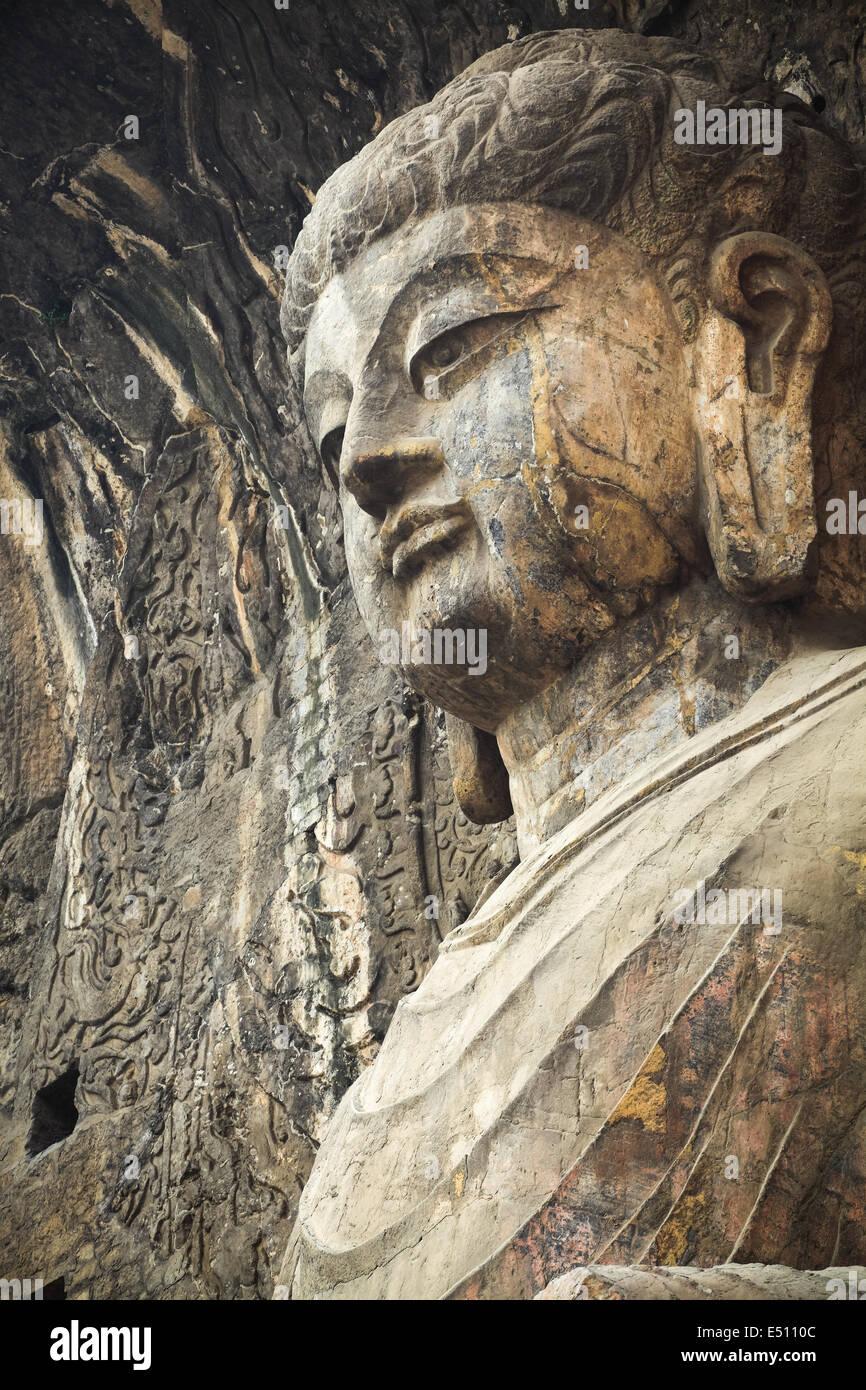 locana buddha in longmen grottoes - Stock Image