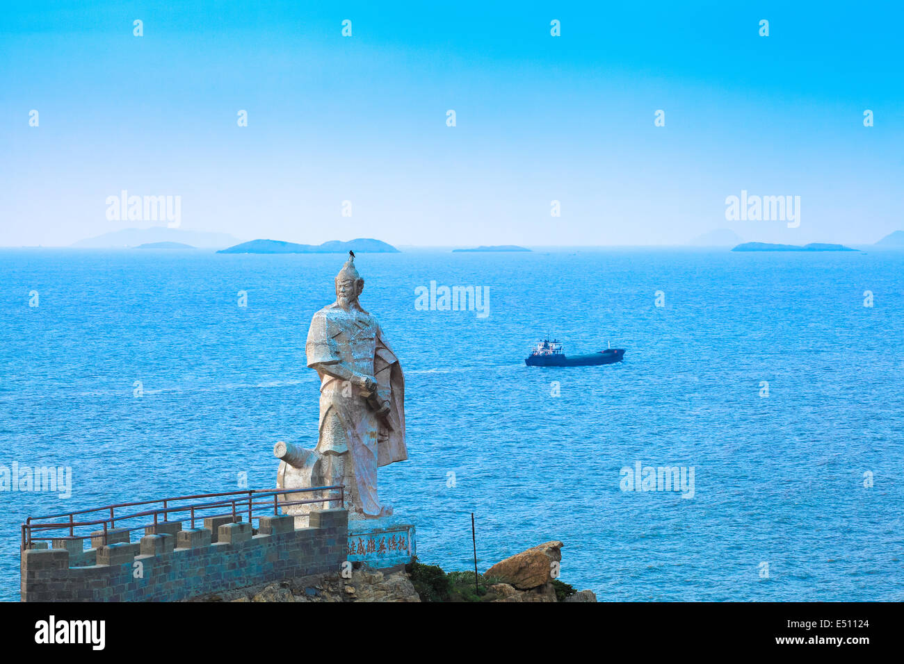 chinese national hero statue in the sea - Stock Image