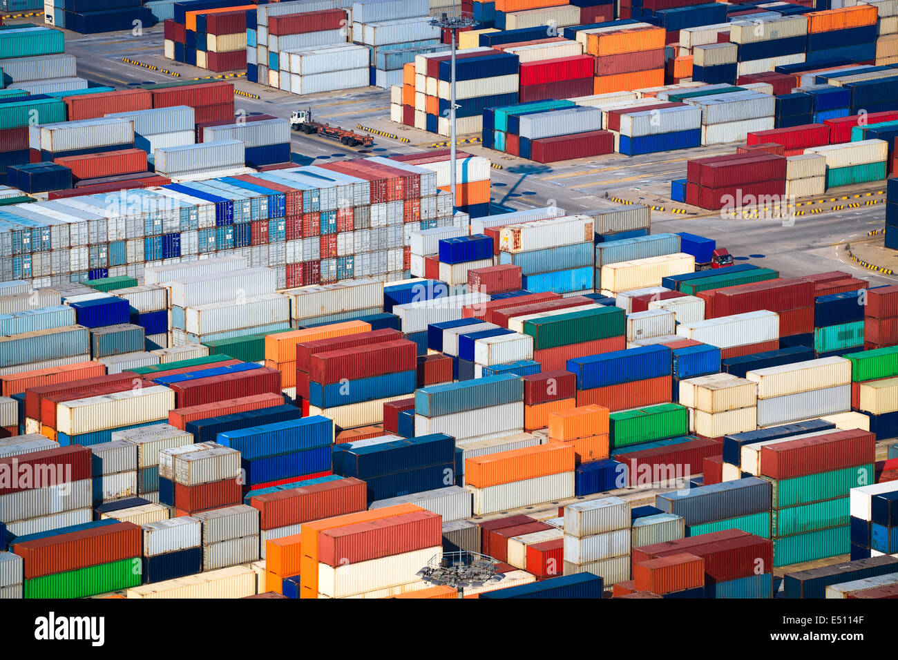 a lot of shipping containers Stock Photo