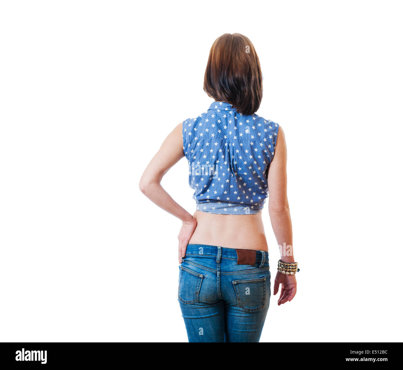 blonde backview isolated torso - Stock Image