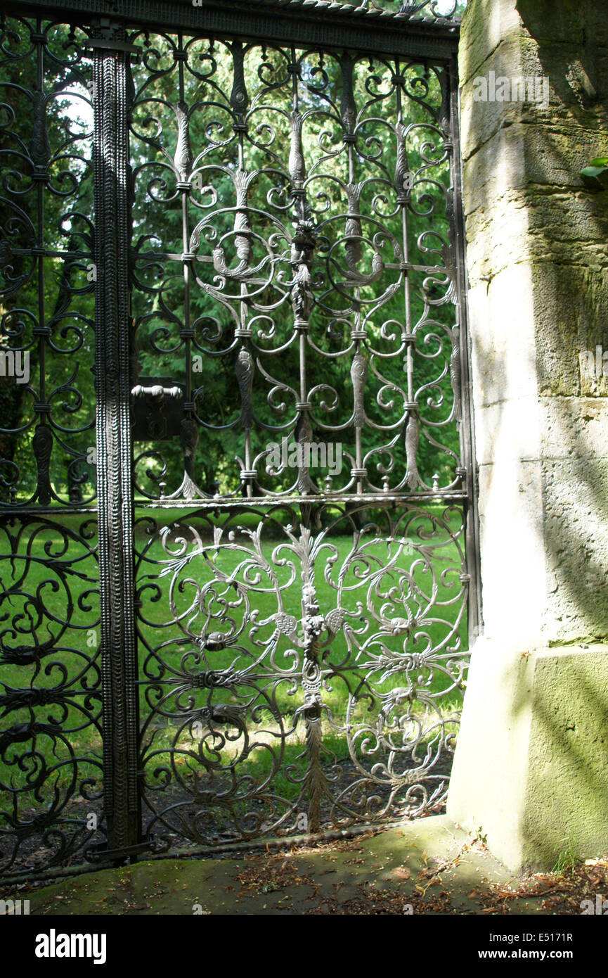 Wrought iron garden gate Stock Photo