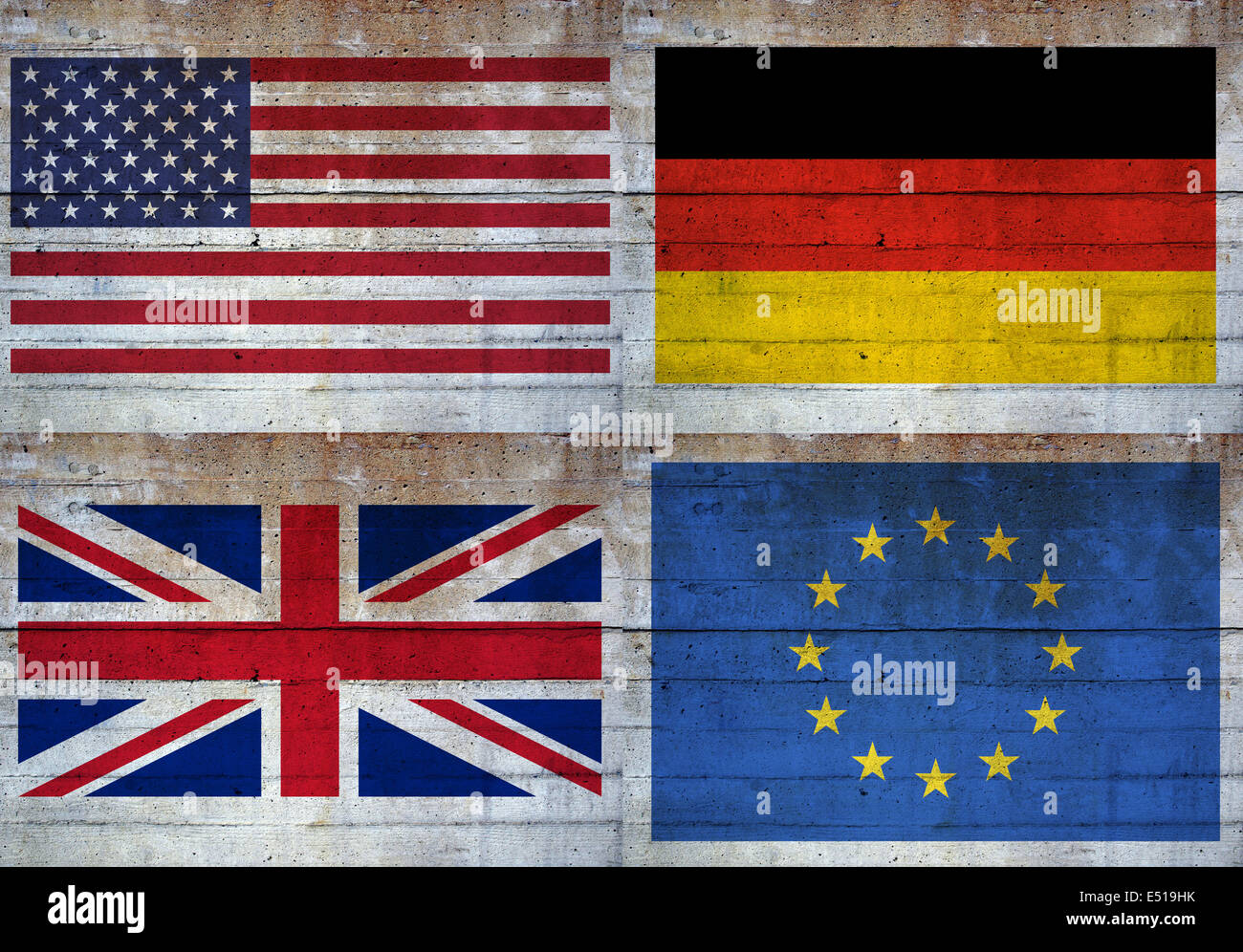 Flags over concrete wall - Stock Image