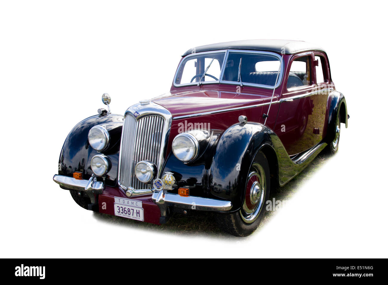 Three quarter view of a 1950s British Riley saloon car - Stock Image